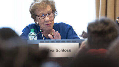 Eva Schloss, stepdaughter of Otto Frank with the students during the debate of Holocaust after International Day in Memory of the Victims of the Holocaust. 30 January 2018. Credit: UN Photo/Jean-Marc Ferré