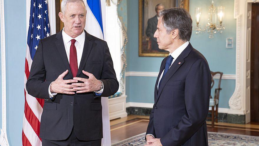 U.S. Secretary of State Antony Blinken meets with Israeli Defense Minister Benny Gantz at the U.S. Department of State in Washington, D.C., on June 3, 2021. Credit: U.S. State Department Photo by Freddie Everett.