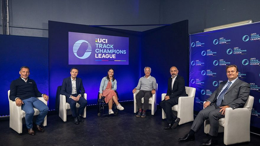 Sylvan Adams (center right) with other international biking-race organizers promoting a new indoor cycling competition showcasing the world's top track cyclists in Tel Aviv. Credit: Courtesy.