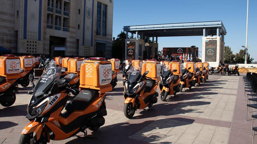 The 150 ambucycles join a fleet of 1,000 ambucycles already operating in Israel for United Hatzalah. Credit: David Isaac.