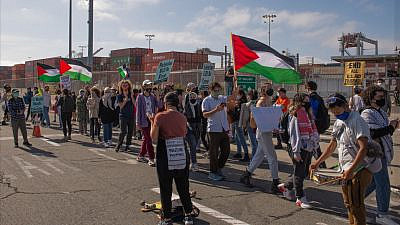 Pro-Palestinian activists protest against the unloading of an Israeli ship at the Port of Oakland, Calif., on June 4, 2021. Source: Facebook/Arab Resource & Organizing Center.