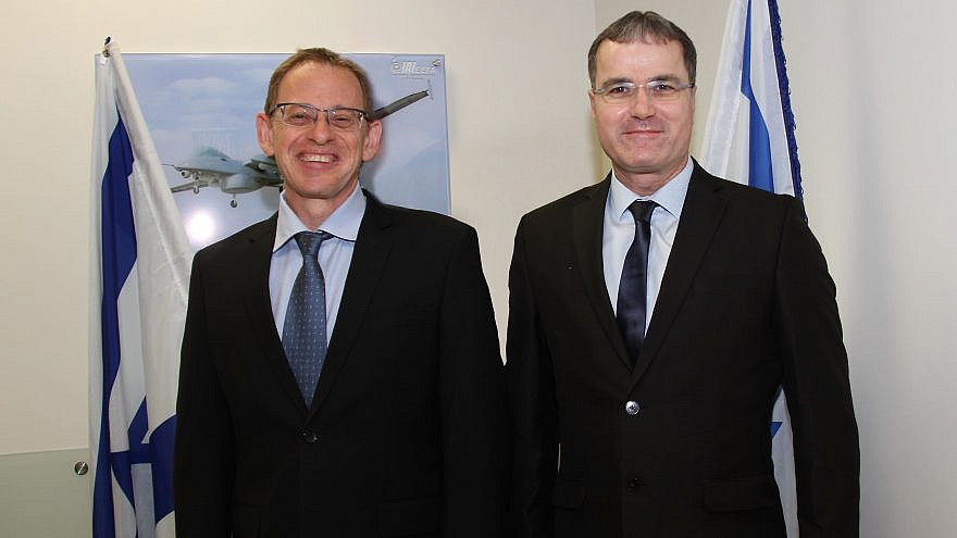 Adi Dulberg, vice president and general manager of intelligence, communications & the EW Division at ELTA Systems (left) and Erez Tsur, president and chief operations officer at Carbyne. Credit: Israel Aerospace Industries.