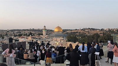 """Women gather in Jerusalem under the auspices of an all-volunteer organization called Imahot L'Maan Imahot (""""Mothers Supporting Mothers""""), June 9, 2021. Credit: Courtesy"""