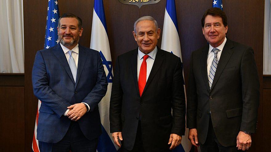 Sens. Ted Cruz (R-Texas) and Bill Haggerty (R-Tenn.) meet with Israeli Prime Minister Benjamin Netanyahu. Source: Benjamin Netanyahu/Twitter.