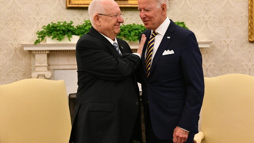 Israeli President Reuven Rivlin meets with U.S. President Joe Biden at the White House. June 28, 2021. Source: Rivlin/Twitter.
