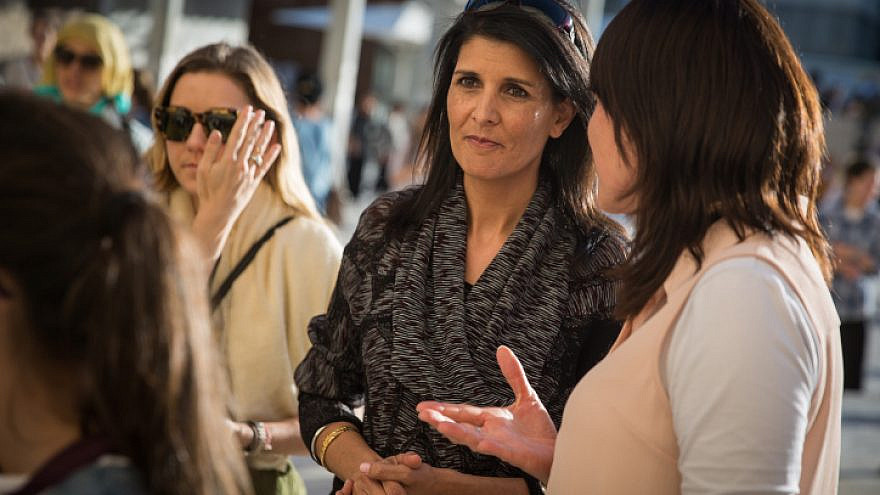 Then-U.S. Ambassador to the United Nations, Nikki Haley, visits the Western Wall, Judaism's holiest site, in Jerusalem's Old City, on June 7, 2017. Photo by Hadas Parush/Flash90.