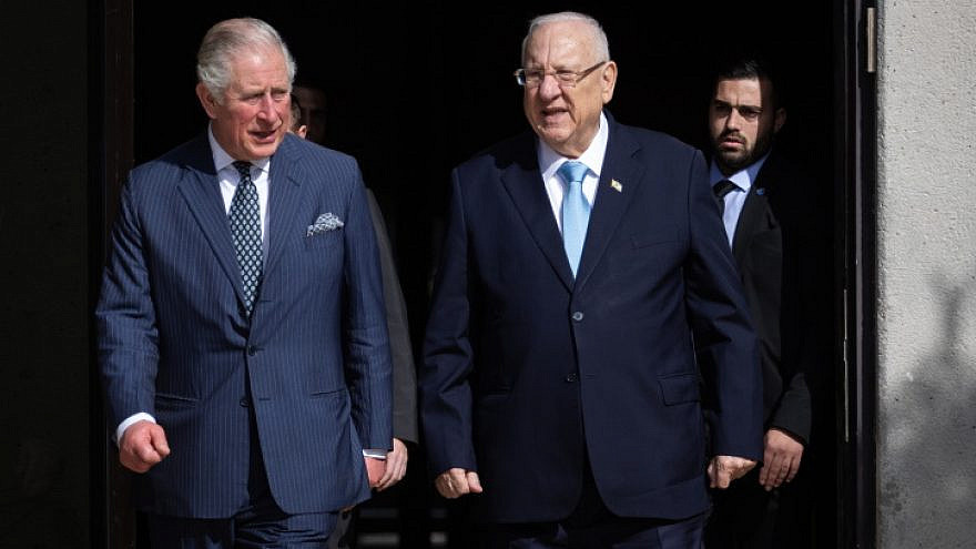 Prince Charles, Prince of Wales and Israeli President Reuven Rivlin attend a tree planting ceremony in Israel, Jan. 23, 2020. Photo by Hadas Parush/Flash90.