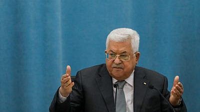 Palestinian Authority leader Mahmoud Abbas speaks during a meeting of the Palestinian leadership in Ramallah, on May 7, 2020. Photo by Flash90.