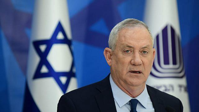 Israeli Defense Minister Benny Gantz speaks during a press conference at the IDF headquarters in Tel Aviv, April 22, 2021. Photo by Tomer Neuberg/Flash90.