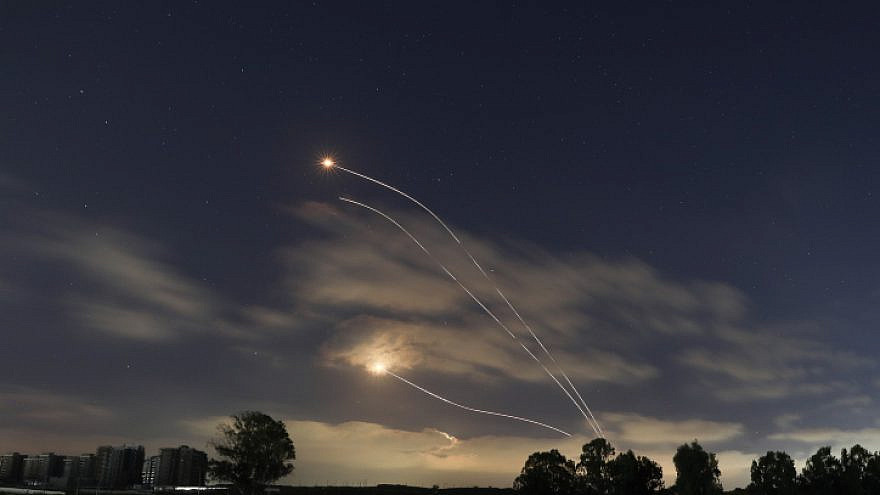A long-exposure picture showing Israel's Iron Dome anti-missile system intercepting rockets fired from the Gaza Strip, May 13, 2021. Photo by Noam Revkin Fenton/Flash90.