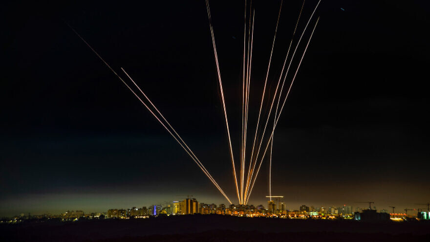 A long-exposure picture showing Israel's Iron Dome anti-missile system firing interceptors at rockets fired from the Gaza Strip, as seen from Ashdod, May 15, 2021. Photo by Avi Roccah/Flash90.