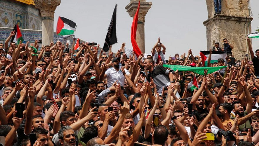 Palestinians protest at the Al-Aqsa mosque compound in Jerusalem's Old City, May 21, 2021. Photo by Jamal Awad/Flash90.