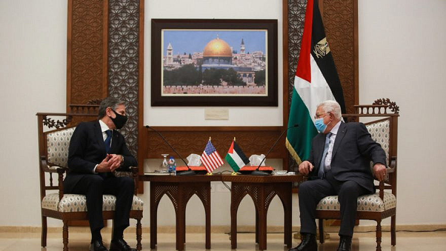 U.S. Secretary of State Antony Blinken meets with Palestinian Authority leader Mahmoud Abbas in Ramallah, on May 25, 2021. Photo by Flash90.