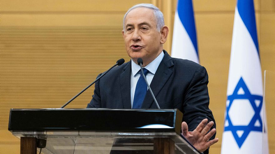 Israeli Prime Minister Benjamin Netanyahu speaks during a press coneference at the Knesset in Jerusalem, May 30, 2021. Photo by Yonatan Sindel/Flash90.