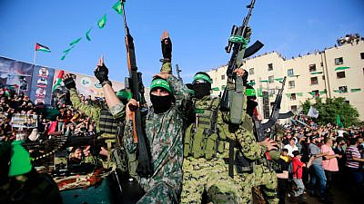 Hamas members attend a rally in Beit Lahiya in the Gaza Strip, May 30, 2021. Photo by Atia Mohammed/Flash90.