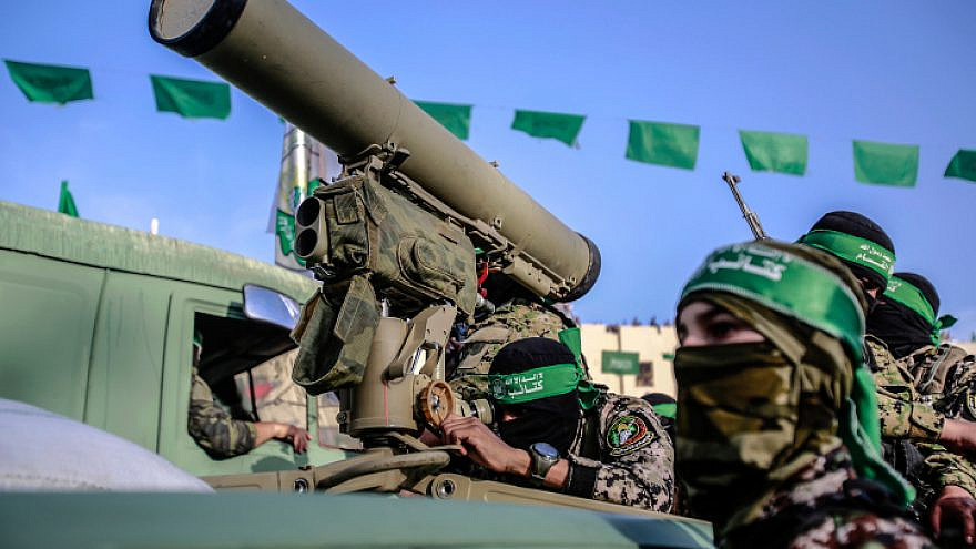 Hamas members attend a rally in Beit Lahiya in the Gaza Strip on May 30, 2021. Photo by Atia Mohammed/Flash90.