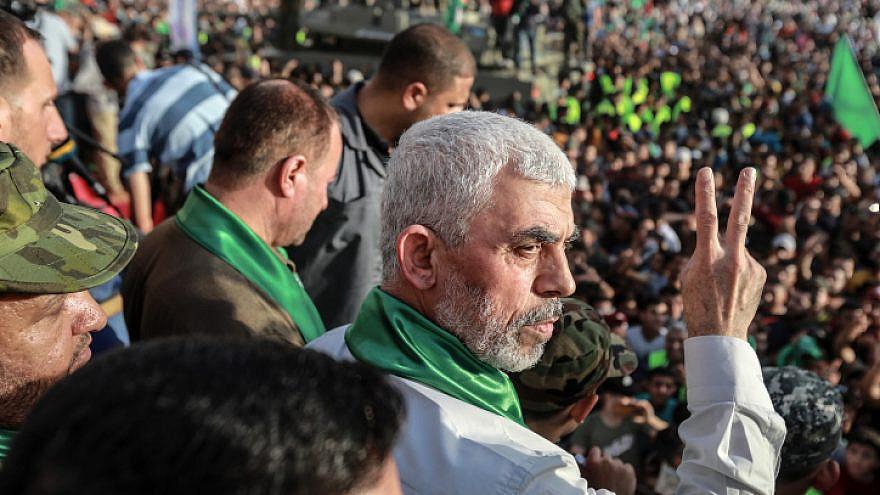 Yahya Sinwar, leader of Hamas in the Gaza Strip, at a Hamas rally in Beit Lahiya, May 30, 2021. Photo by Atia Mohammed/Flash90.