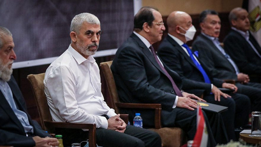 Yahya Sinwar, Hamas's political chief in Gaza (left), meets with Maj. Gen. Abbas Kamel, Egypt's intelligence chief (second from left), as Kamel arrives for a meeting with leaders of Hamas in Gaza City, May 31, 2021. Photo by Abed Rahim Khatib/Flash90.