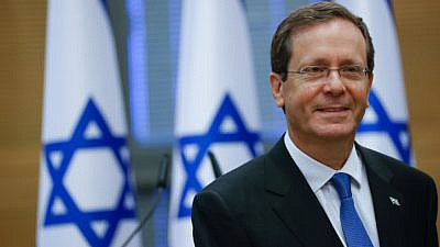 Israeli President-elect Isaac Herzog at the Knesset in Jerusalem on the day of the election, June 2, 2021. Photo by Yonatan Sindel/Flash90.
