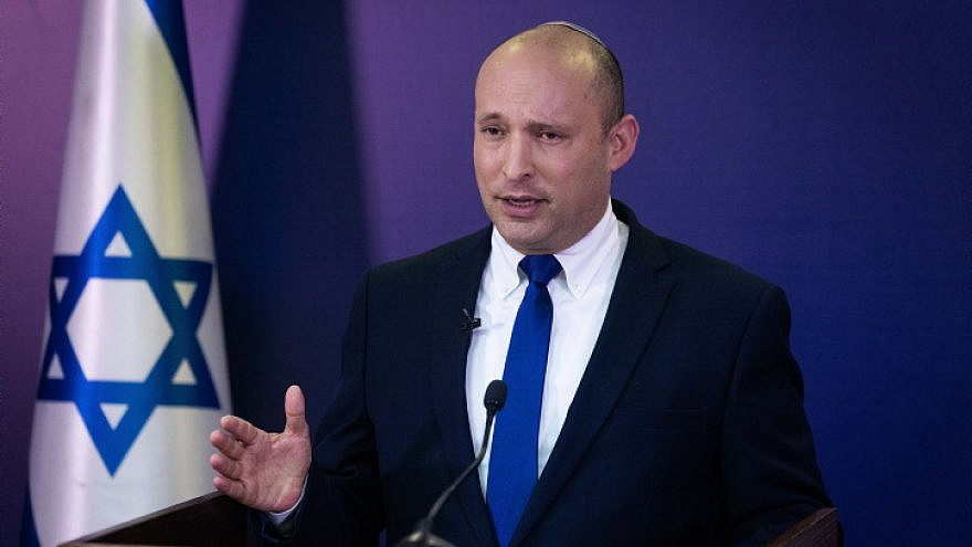 Head of the Yamina Party Naftali Bennett gives a press conference at the Knesset, June 6, 2021. Photo by Yonatan Sindel/Flash90