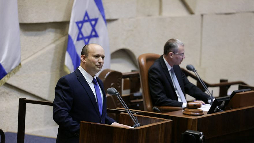 Israeli Prime Minister-designate Naftali Bennett at the swearing in of the new Israeli government, at the Knesset, June 13, 2021. Photo by Olivier Fitoussi/Flash90.