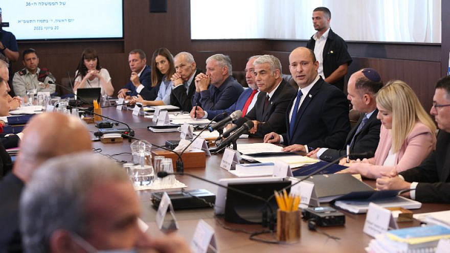 Israeli Prime Minister Naftali Bennett leads a Cabinet meeting at the Prime Minister's Office in Jerusalem on June 20, 2021.  Photo by Amit Shabi/POOL.