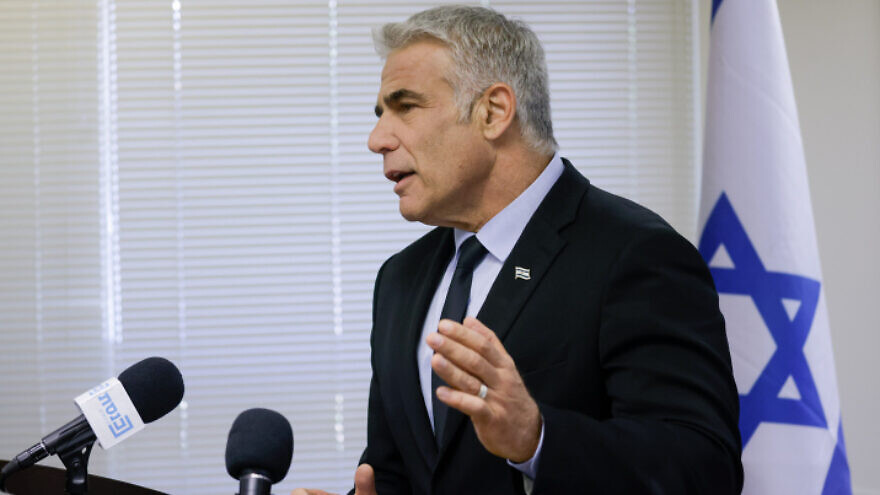Israeli Foreign Minister Yair Lapid speaks during a faction meeting at the Knesset, June 21, 2021. Photo by Olivier Fitoussi/Flash90.