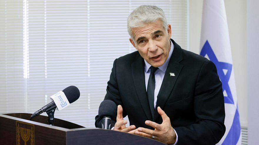Israeli Foreign Minister Yair Lapid speaks during a faction meeting in the Knesset, June 21, 2021. Photo by Olivier Fitoussi/Flash90.
