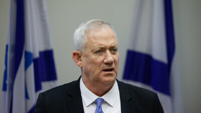 Defense Minister Benny Gantz leads a faction meeting in the Israeli parliament on June 21, 2021. Photo by Olivier Fitoussi/Flash90.