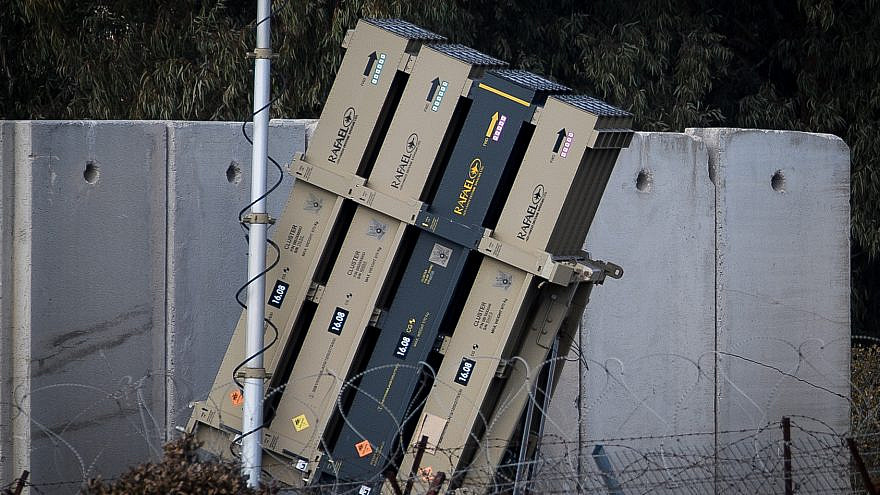 An Iron Dome anti-missile battery stationed near the Israeli-Syrian border, in the Golan Heights in northern Israel, on Jan. 3, 2020. Photo by Basel Awidat/Flash90.