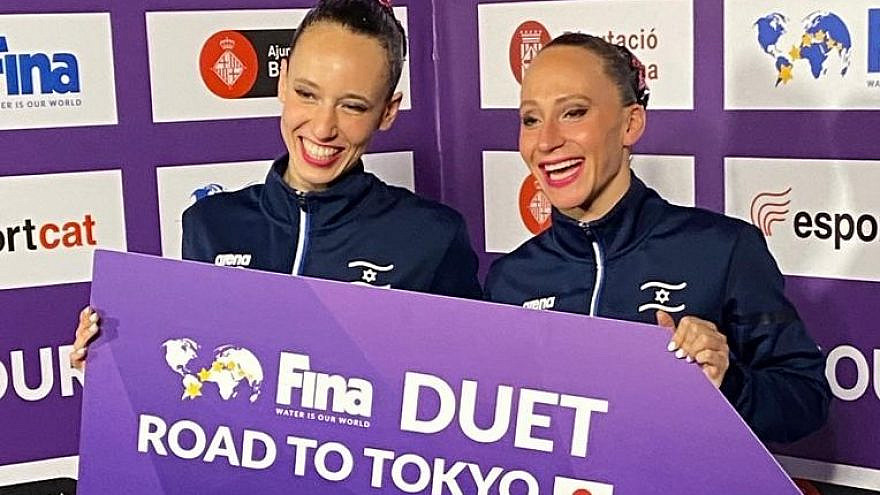 Eden Blecher (left) and Shelly Bobritzky will be among only nine artistic-duet teams to compete in the Tokyo Olympics in July 2021. Credit: Israel Swimming Association/FINA.