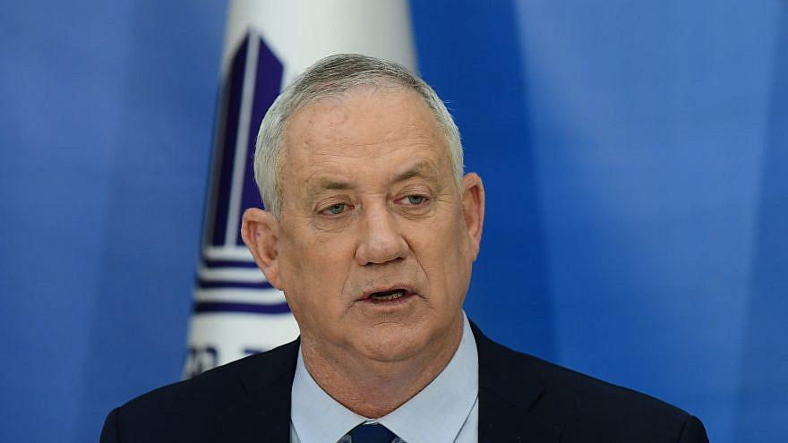 Israel's Minister of Defense Benny Gantz at Defense Headquarters in Tel Aviv, April 22, 2021. Photo by Tomer Neuberg/Flash90.