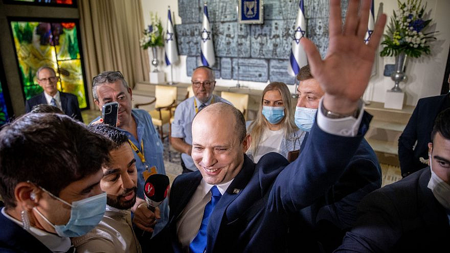Israeli Prime Minister Naftali Bennett seen after a group photo of the newly sworn-in Israeli government, at the President's Residence in Jerusalem on June 14, 2021. Photo by Yonatan Sindel/Flash90.