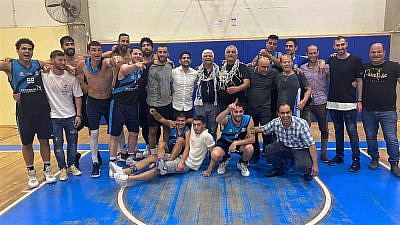 Maccabi Ma'ale Adumim basketball team, June 2021. Credit: Courtesy.