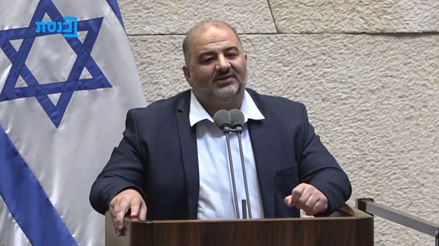 Ra'am Party leader Mansour Abbas gives a speech before the Knesset, June 13, 2021. Source: Twitter