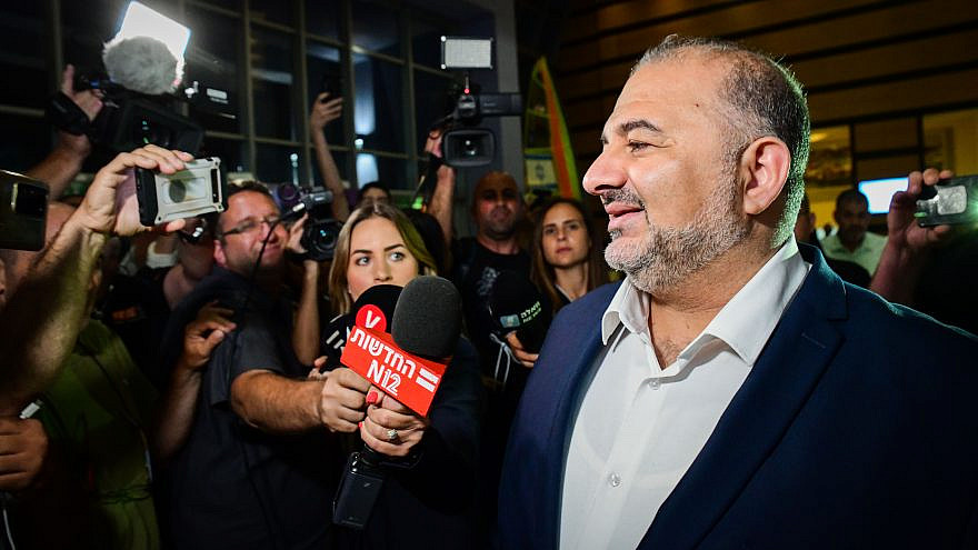 Mansour Abbas, head of the Ra'am Party, arrives for coalition talks at the Maccabiah Village in Ramat Gan on June 2, 2021. Photo by Avshalom Sassoni/Flash90.