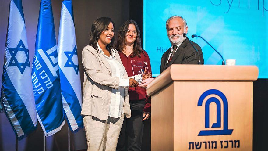 Minister of Aliyah and Integration Pnina Tamano-Shata accepts the 2021 Begin Award for Israeli leadership, June 2021. Photo by Naga Malsa.