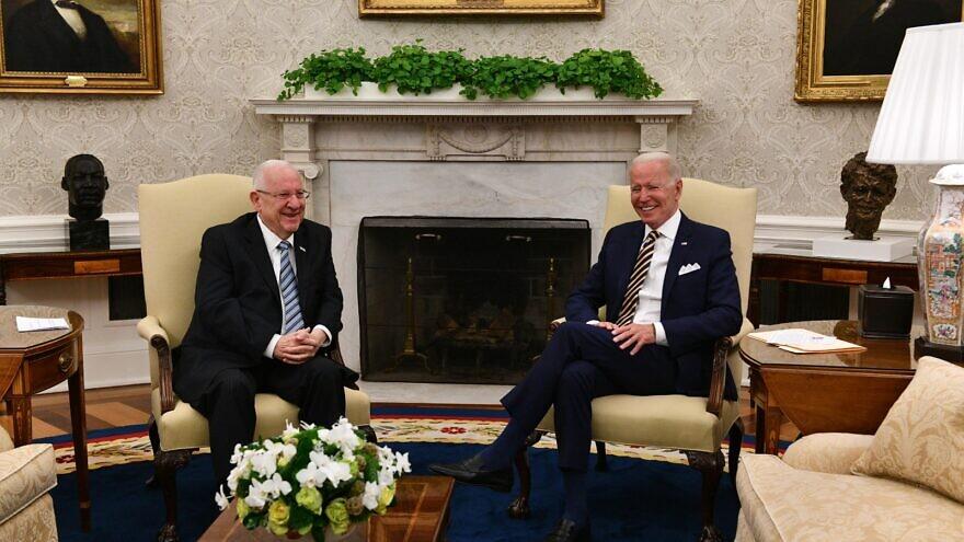 U.S. President Joe Biden with outgoing Israeli President Rivlin at the White House. Credit: GPO/Haim Zach.