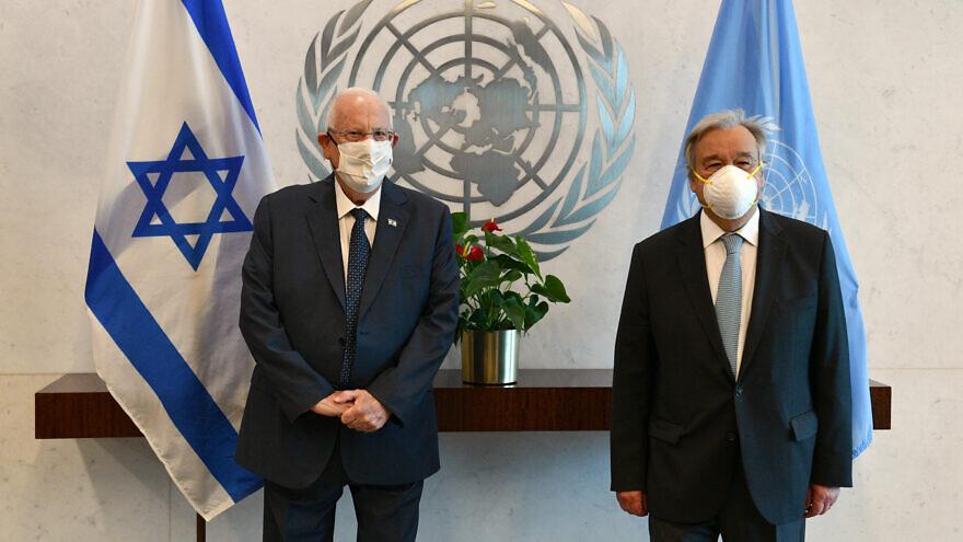 Israeli President Reuven Rivlin with U.N. Secretary-General Antonio Guterres.  Credit:Haim Zach / GPO