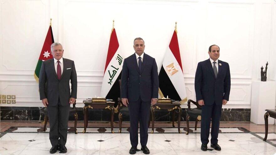 Egyptian President Abdel Fattah el-Sisi (right), Iraqi Prime Minister Mustafa al-Kadhimi (center) and Jordanian King Abdullah II at the Government Palace in Baghdad, June 28, 2021. Source: Twitter.