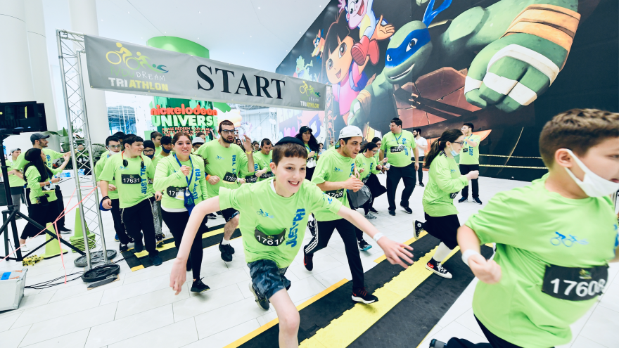 Over 200 athletes from across the tri-state area recently participated in the first Orthodox Union's (OU) Yachad triathlon at the American Dream mall.