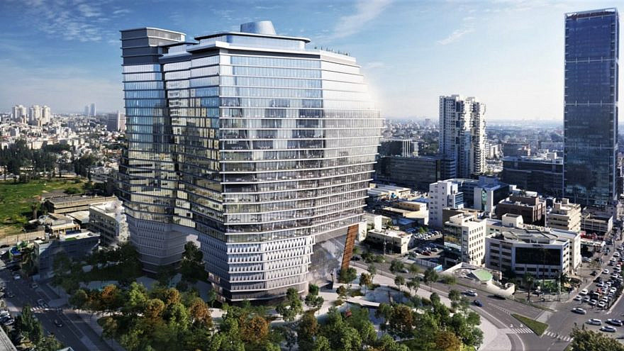 Architect's rendering of ToHa Tel Aviv office complex. Image courtesy of Ron Arad Architects/Israel21c.