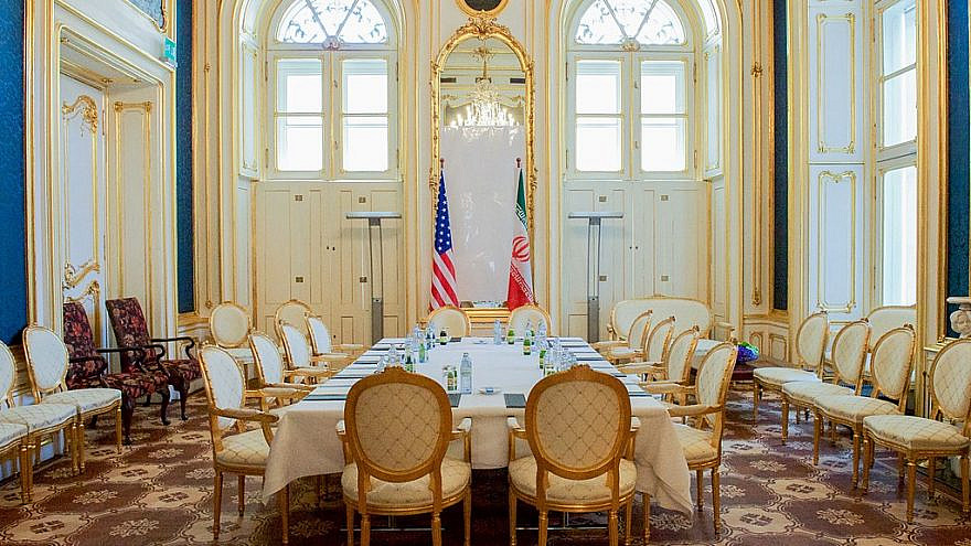 A room in the Blue Salon at the Palais Coburg Hotel in Vienna, the site of past and present nuclear negotiations, July 4, 2015. Credit: U.S. State Department.