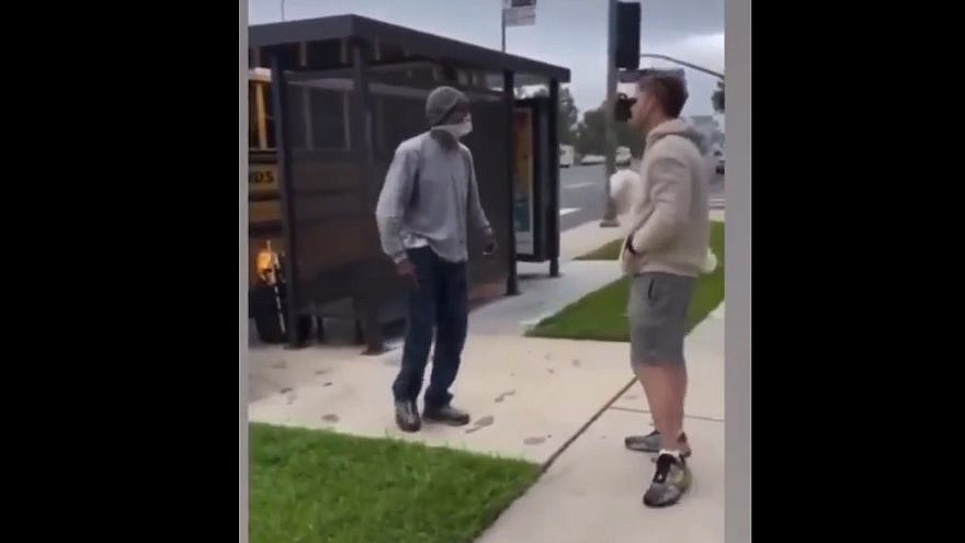 A Jewish man is verbally assaulted by anti-Semitic language before loading his children onto a bus to go to summer camp on June 21, 2021. Source: Twitter.