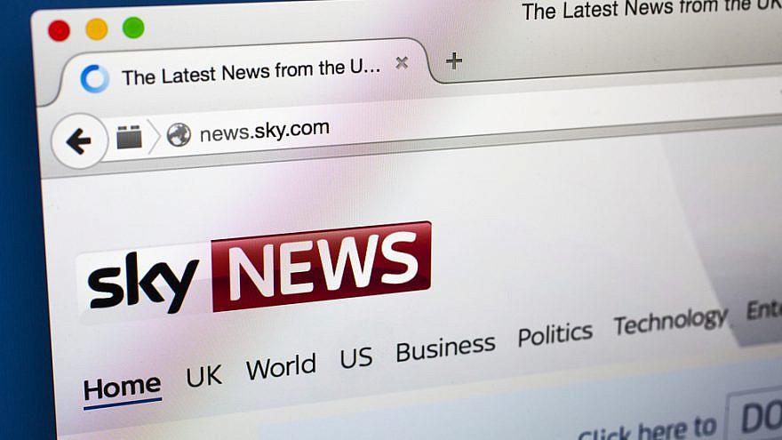"""The homepage of the """"Sky News"""" website. Credit: Chris Dorney/Shutterstock."""