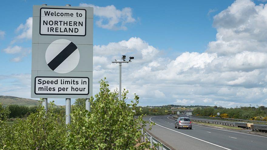 The Republic of Ireland and Northern Ireland border sign on M1 motorway. Ireland. Credit: Remizov/Shutterstock.