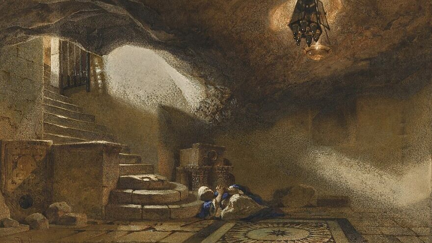 """""""The Cave Beneath the Holy Rock, Jerusalem"""" by Carl Haag, 1859. Pencil and watercolor on paper. Credit: Wikimedia Commons."""