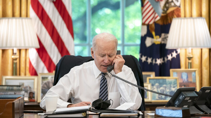 U.S. President Joe Biden speaks on the phone with then-Israeli Prime Minister Benjamin Netanyahu on May 12, 2021, in the Oval Office of the White House. Credit: Official White House Photo by Adam Schultz.