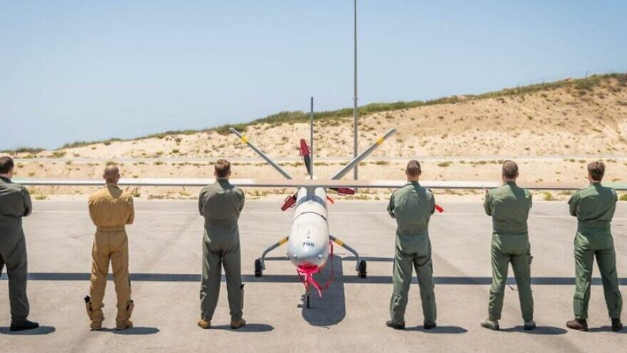 """Participants in """"Blue Guardian"""" the first-ever international unmanned aerial vehicle (UAV) exercise, at Palmachim airbase in central Israel, July 12, 2021. Participating nations include the U.S., U.K., Germany, Italy and France. Credit: IDF Spokesperson's Office."""