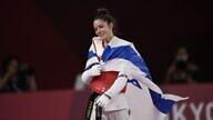 Avishag Semberg, 19, celebrates her bronze medal win at the Tokyo Summer Olympics, July 24, 2021. Photo by Amit Shissel/Israeli Olympic Committee.